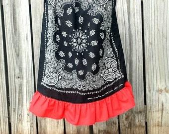 Black Bandanna Dress, Girl Birthday Dress, Bandana Dress, Toddler Pillowcase Dress, Beach Cover Up, Flower Girl Dress, Christmas  Dress,