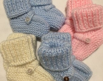 Hand-knit booties for infant. One size.3 months to 12months
