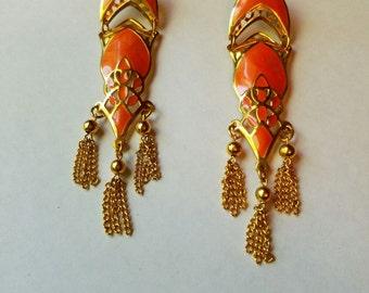 Vintage berebi 1980's pierced dangledrop earrings boho