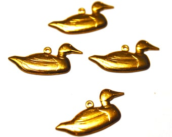 4 Duck Charms, Bird Charms, Brass Duck Stamping, Brass Bird Stamping, Brass Birds, Duck Brass Stamping, Brass Ducks, Ducks, Ducks Brass