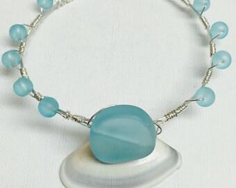 Blue Sea Glass Silver Wire Wrapped Bangle