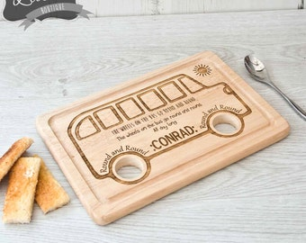 Laser Engraved Wooden Rectangle The Wheels on the Bus go round and round Egg Board