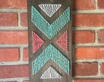 READY TO SHIP!! Aztec string art sign; Tribal wall decor