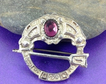 Vintage Tara Brooch, Silver Brooch, Pink Glass Gem, Silver Irish Brooch,