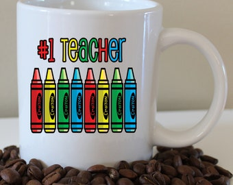 Teacher - #1 teacher - teacher gift - crayons - coffee mug - gift - christmas present - best- water bottle - magnet