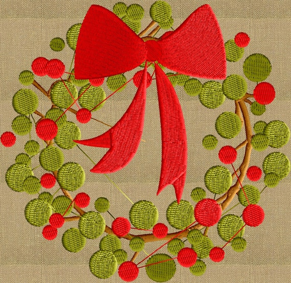 Modern wreath bow embroidery design file instant download