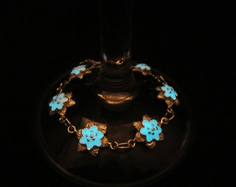 Flower  silver bracelet glow in the dark