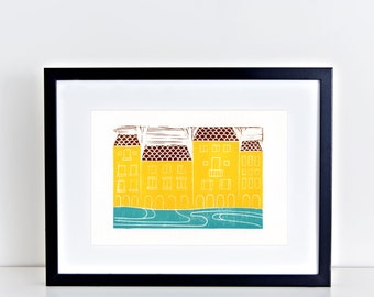Florence Italy Linocut Block Art Print Firenze Tuscany Architecture Yellow Gift for Traveler 8x10 4x6 artwork