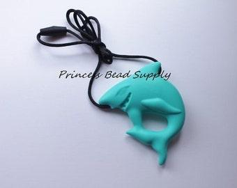 Large Turquoise Shark Silicone Pendant, Teething Toy, Silicone Necklace, Shark Silicone Pendant, 100% Food Grade Silicone Sensory Beads