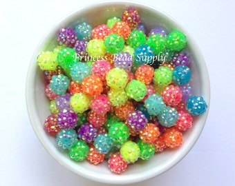 12mm Mixed Colors Neon Rhinestone Beads Set of 10, 20 or 50,  12mm Rhinestone Beads, Chunky Bubble Gum Beads, Gumball Beads, Acrylic Beads