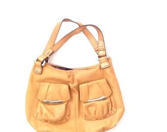 90s mustard yellow leather hobo shoulder bag