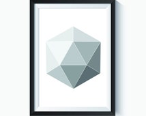 Geometric, Geometric Print, Diamond, Diamond Art, Abstract, Abstract Art Print, Black & White, Grey Wall Art, Minimalist, Minimalist Print