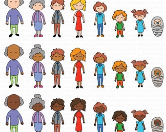 Family Clipart Clip Art Stick People Family Race TeolDesign Clip Art Commercial & Personal Use Direct Download