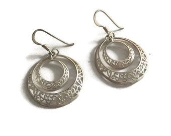 Vintage Sterling Silver Hoop Dangle Earrings