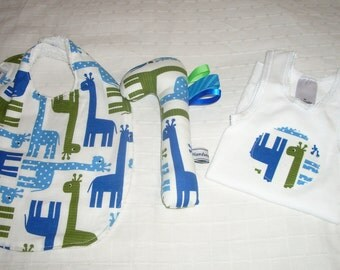 Baby gift set featuring matching bib singlet and rattle