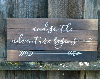 "Reclaimed Rustic Wood Sign: And So The Adventure Begins 14""x8"" // Wedding Decor // Rustic Wedding //"