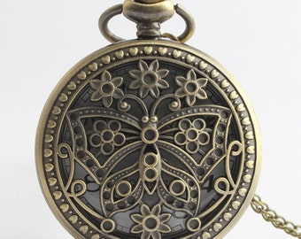 1pcs/ 45mm ,Round butterfly pocket watch Necklace Chain,Necklace Pendant,craft supply BM-88