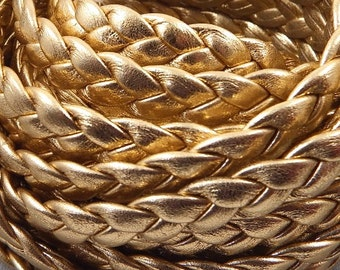 flat leather braid gold 10mm by 20cm
