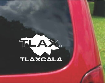 2 Pieces Tlaxcala Mexico Outline Map  Stickers Decals 20 Colors To Choose From.  U.S.A Free Shipping