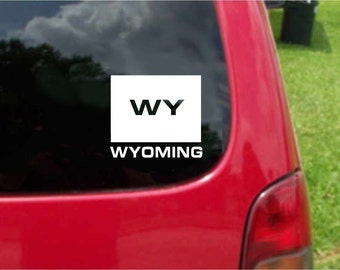 2 Pieces Wyoming WY State USA Outline Map Stickers Decals 20 Colors To Choose From.  U.S.A Free Shipping