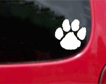 Set (2 Pieces) Wild Cat Paw  Sticker Decals 20 Colors To Choose From.  U.S.A Free Shipping