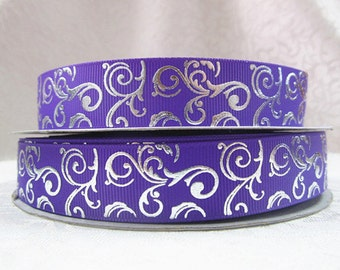 7/8 inch Silver Vines On Purple - Filigree Damask Printed Grosgrain Ribbon for Hair Bow