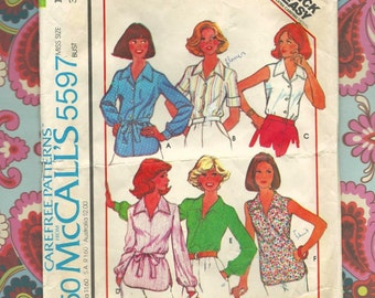 McCalls 5597 Vintage Pattern Misses Set of Buttoned, Pullover Blouses Misses Size 16
