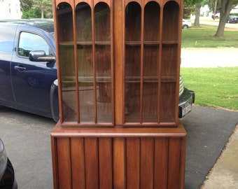 Mid-Century Modern Brutalist China Cabinet by Keller Furniture - Made in Finland