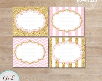 Pink and Gold Food Tent Labels, Gold Glitter Buffet Labels, Table tents, Baby shower Decorations, Candy Labels, Party printable decoration