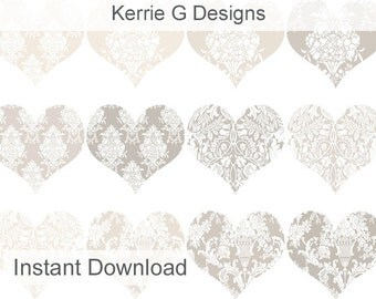 Heart Clipart - Damask Hearts - Printable Hearts -  Pale Damask Hearts Clip Art (HC1)