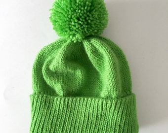 Lime Green Winter Hat - Pom-pom hat - custom hat - knitted hat - green knitted hat