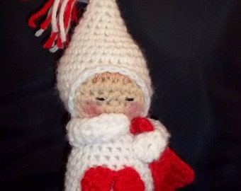 Sleepy Baby Doll - Small - White and Red