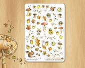 Watercolor Stickers For Warm Times - Perfectly Fitting the October Colors of Erin Condren Life Planners : Forest illustrations