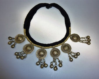 Kuchi Tribal Necklace with Metallpendants, Tribal Black Cord Necklace