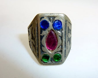 Niello-Ring with Glass Jewels, vintage, US Size 8