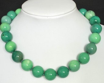 Necklace Grass Turquoise Howlite 18mm Round Beads 925 NSAN3118