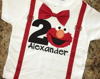 Elmo Shirt ONLY with suspenders, bow tie, number and name