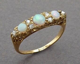 18 K English Opal & rose diamond half hoop ring c 1850 size 7