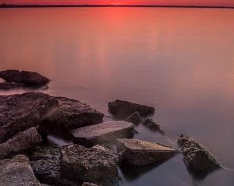 Sunrise over Lake Winnebago, Neenah Wisconsin.