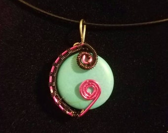 Teal Swirl Wire Wrapped Pendant