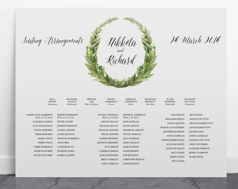 Printable Wedding Seating Chart, Watercolour Wreath, Wedding Signage - Landscape - Imperia
