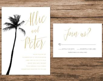 Tropical Leaves Wedding Invitation Tropical Palm Leaves