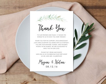 Thank You Place Setting, Wedding Thank You Card, Greenery Thank You, Thank You Note