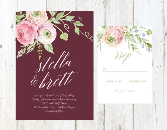 Blush and Marsala Wedding Invitation