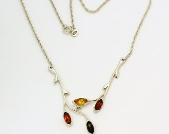Branches with amber stones made of sterling silver and genuine Baltic amber stones