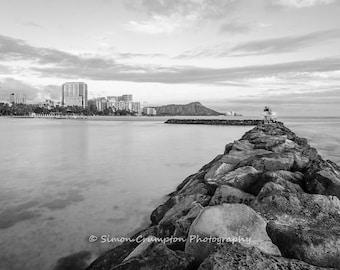 Waikiki Beach Sunset - Oahu, Hawaii - Black and White - Landscape - Fine Art Print