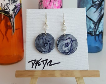 Grey Skies | Acrylic and Ink on Plastic Silver Earrings