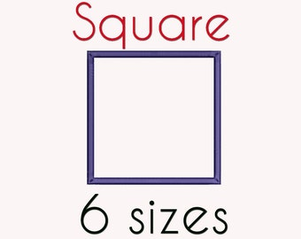 Square Applique Machine  Embroidery Design, 6 Sizes, Basic Shape DIGITAL INSTANT DOWNLOAD 047