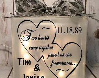 home decor lighted glass block two hearts come together joined as one forevermore, wedding gift, bride, anniversary, gift for couple, love