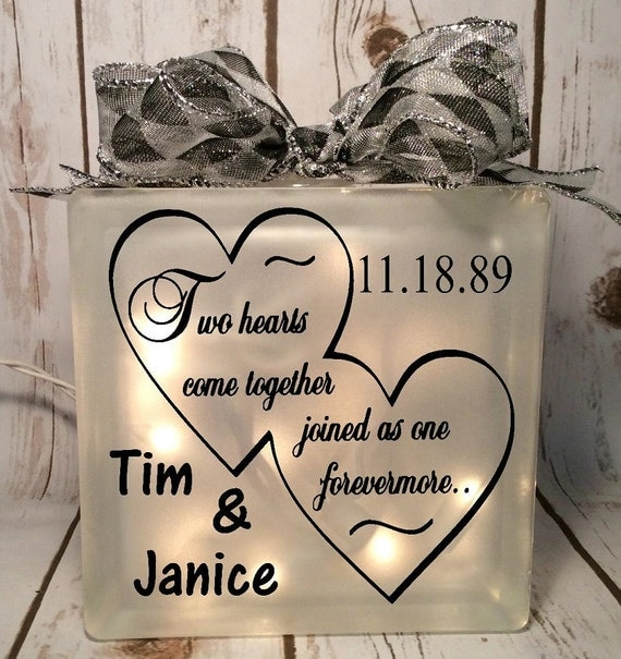 Home Decor Lighted Glass Block Two Hearts Come Together Joined